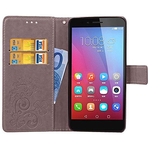 EMAXELERS Huawei Honor 5X Hülle Lucky Clover Schutzhülle Ledertasche Lederhülle Handyhülle Wallet Case Flip Etui Tasche Handytasche mit Standfunktion Karteneinschub,Gray Clover - 4