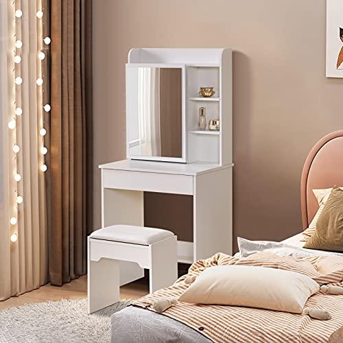 TUKAILAI Juego de tocador de color blanco con 1 cajón grande, 1 espejo deslizante, 6 estantes y taburete, muebles de dormitorio, mesa
