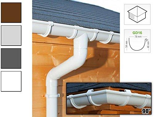 Dachrinnen/Regenrinnen Set | viereckiges Dach (4 Seiten) | GD16 | in anthrazit, weiß, braun oder grau! (Umriss bis 21.00 m (Kompl. Set), Grau)