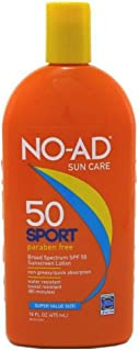 NO-AD Sport Sunscreen Lotion, SPF 50 16 oz (Pack of 3)