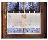 Scheibengardine Katze 45 x 120 cm Caféhausgardine Weihnachtsgardine weihnachtliche Landhausdeko