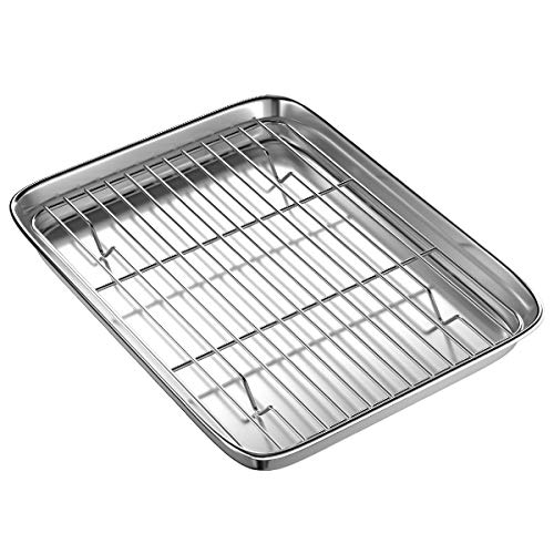 Toaster Oven Tray and Rack Set, BYkooc Small Stainless Steel Baking Pan with Cooling Rack,12.4 x 9.6 x 1inch,Dishwasher Safe Baking Sheet, Anti-rust, Sturdy & Heavy.