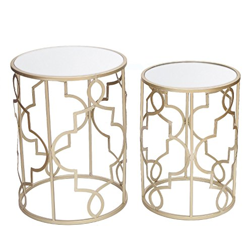 Adeco Decorative Nesting Round Side End Accent Table Plant Stand Chair for Bedroom, Living Room and Patio, Set of 2 (Gold,White Glass)