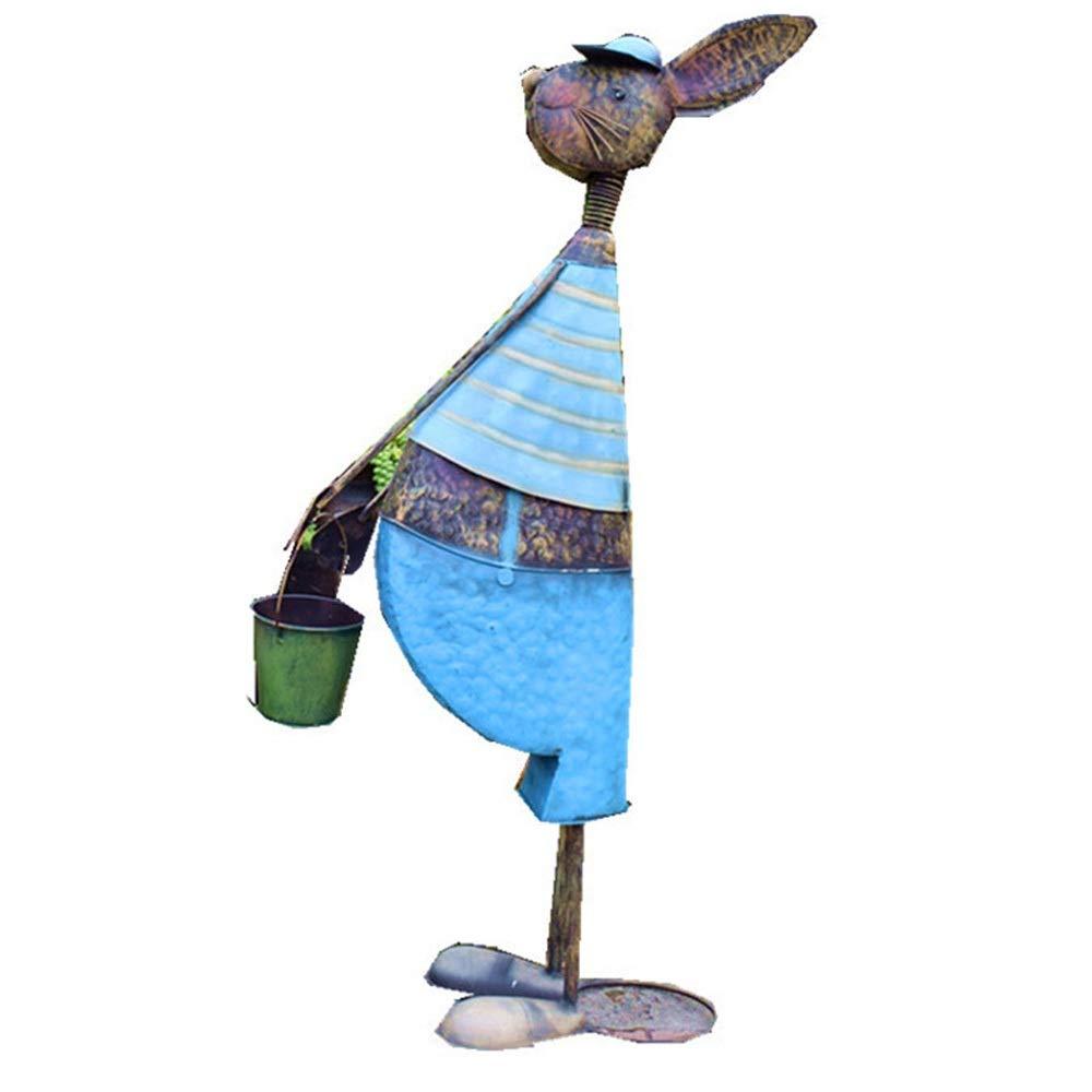 Hierro Retro Lindo Animales Decoración Balcón Jardín Villa Patio Interior Adornos Escultura Sala De Estar Terraza Figuritas de Arte de jardín (Color : Blue, Size : L): Amazon.es: Hogar