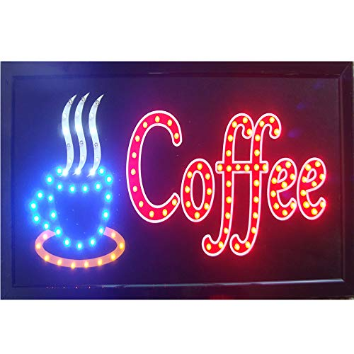 CHENXI LED Open Coffee LED Neon Business Motion Licht Schild On/Off mit Kette 48x25cm Indoor Only (48x25cm, A)