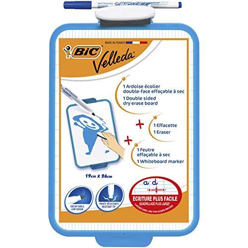 BIC Velleda Pizarra Blanca de Borrado en Seco de doble Cara (19x26cm) con Marcador Azul y Borrador – Bolsa de 1