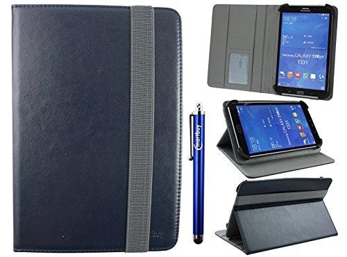emartbuy Universal 7-8 Zoll Midnight Blau Multi Angle Folio Brieftasche Case Cover Mit Card Slots Grau Elastische Strap Und Stylus Stift Geeignet Für Ausgewählte Geräte Aufgeführt Unten