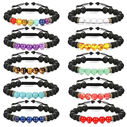 Finrezio 10 Pezzi Bracciale Perle per Le Donne Gli Uomini 7 Chakra Olio Pietra Diffusore Bracciali Set 8 Millimetri Bracciale Aromaterapia Yoga in Rilievo