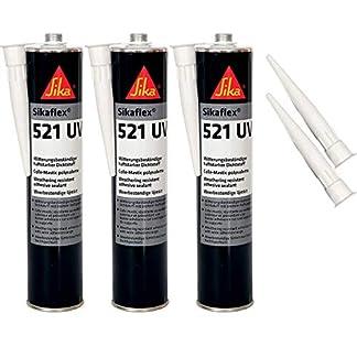 Sikaflex-521 – Sellador resistente a los rayos UV (300 ml, 3 unidades con 5 boquillas), color negro