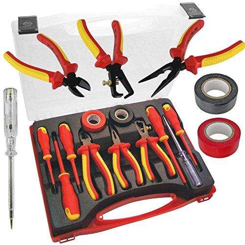 Spares2go Juego Completo de Destornilladores y alicates aislados para Electricista