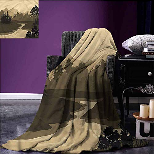 River Bed Blanket Flannel Throw Blanket Silhouette of The Mountains Super Soft Extra Warm for Couch Sofa Bed Beach Travel W93 xL70