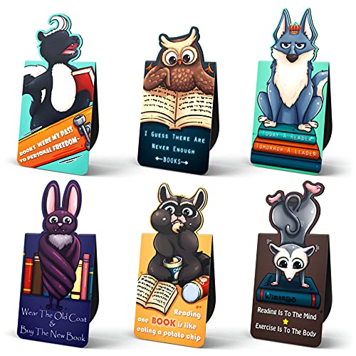 Lotteli 6 Piece Magnetic Bookmarks for Kids, Bookmarks for Book Lovers, Magnet Book Markers, Magnet Page Marker Clips for Students Teacher Supplies, Party Favors, 3 x 2cm - Night Animals