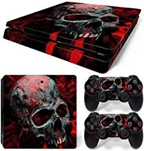 For PS4 Slim Red Skull Game Decal Skin Stickers For PS4 Slim Console with 2 Pcs Stickers for controller