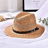 Verano Hecha a Mano para Mujer, Playa Boho Fedora, Sombrero de Paja, Sombrero para el Sol, Sombrero para el Sol, Hombres, Sombrero Casual de Jazz,Caqui