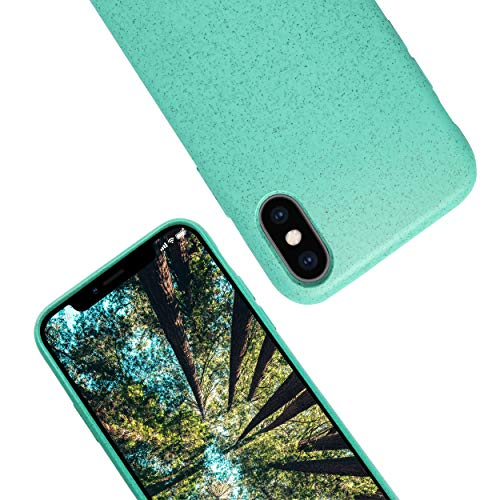 eplanita Eco iPhone X/XS Mobile Phone Case, Biodegradable and Compostable Plant Fibre and Soft TPU, Drop Protection Cover, Eco Friendly Zero Waste (Mint, iPhone Xs/X)