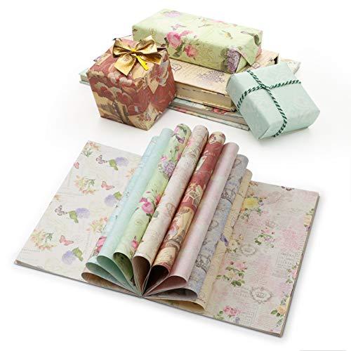 Kesote 24 Geschenkpapier Vintage Blumen Geschenkverpackung für Geburtstag Geschenk Buch Handwerk (45 x 30,3 cm, 12 Motive)