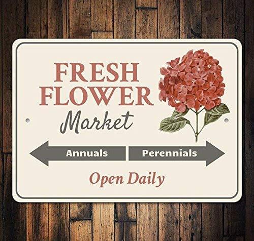 HSSS Fresh Flower Market Schild Hortensien Dekor Hortensien Schild Blumenmarkt-Dekor Markt-Dekor Markt-Deko Blume Dekoration Metall Aluminium Schild 20,3 x 30,5 cm