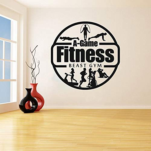 Shentop Bestia Gym Eliminar Vinilo Decorativo Etiqueta de La Pared de Fitness Hombre Decal Fitness Center Dormitorio Decoración del Hogar Cartel del Arte 57 * 57 cm