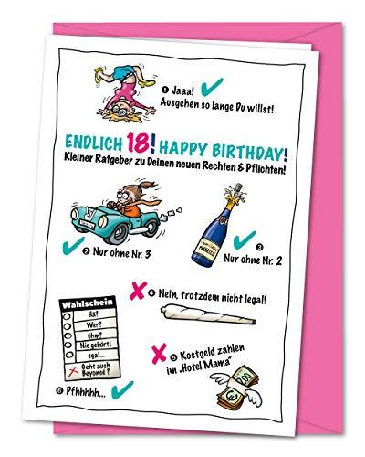XL Geburtstagskarte zum 18. Geburtstag - weiblich, lustig und frech - zur Volljährigkeit, Karte zum 18, zum Erwachsen werden - für Mädchen, Mädels, Töchter - inklusive Umschlag (DIN A5)