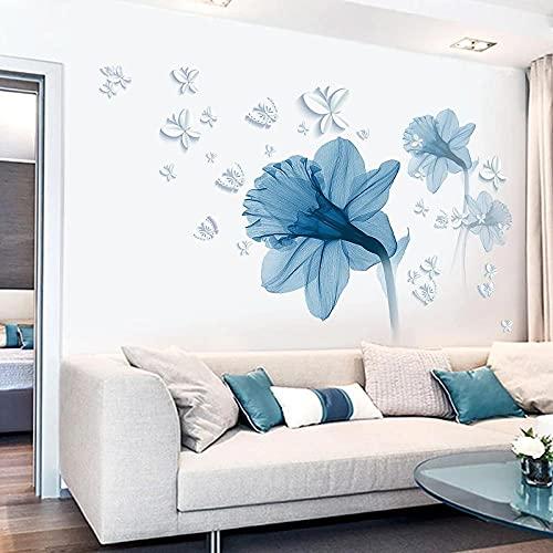 85 * 120 cm pegatinas de pared de flores azules en la pared salas de estar dormitorio sofá TV Fondo decoración de la pared planta vinilo calcomanías de pared Mura