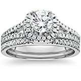 1ct Halo Diamond Engagement Ring Set Split Shank Bridal Wedding 14K White Gold - Size 7