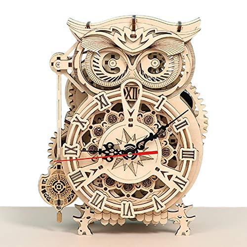 3D Holz Puzzle Eule Uhr Modellbau Kit DIY Modellbausätze Für Erwachsene, Jugendliche Und Kinder - Ideales Weihnachts, Modellbau Bastelset Technik Bausatz- Logik Raetsel Spiel Erwachsener