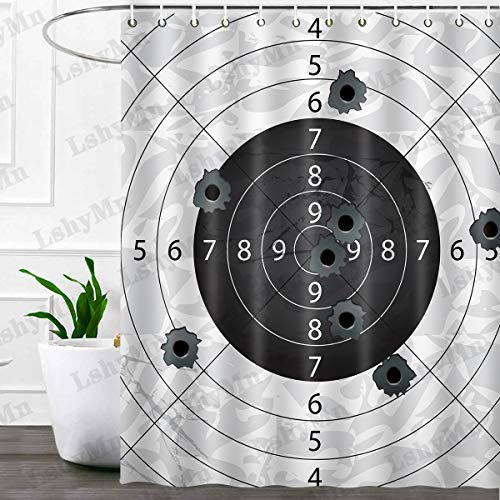 """Target and Bullet Holes Shower Curtain Home Bathroom Decorative Curtain 72""""x72"""" with 12 Hooks for Kids Bathroom Polyester Fabric YLSYMN35"""