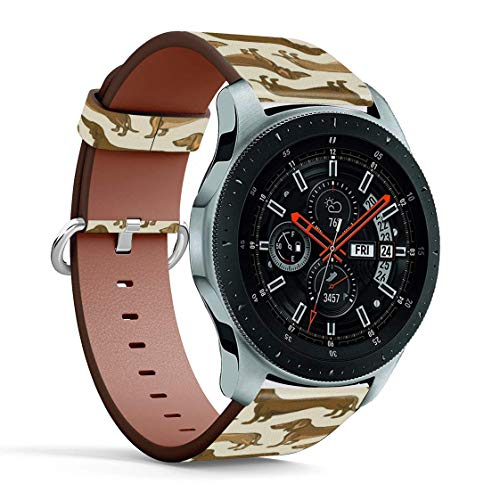 Replacement Leather Printing Wristbands Compatible with Galaxy Watch3 (45mm) / Galaxy Watch (46mm), Standard 22mm Strap - Beige Brown Dachshund Dogs