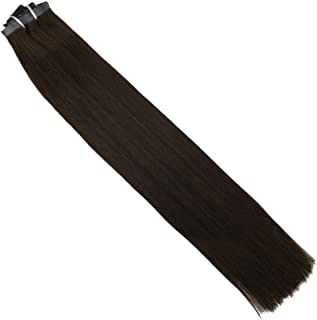 Moresoo Clip in Hair Extensions Color #2 Darkest Brown PU Clip on Human Hair Extensions 16 Inch Double Weft Remy Hair Extensions Full Head Hair Extensions 7 Pieces 120 Grams Per Package Real Hair