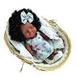 African American Baby Doll with Curls Soft Silicone Lifelike Newborn Black Girls Floral Dress Cotton Filled Flexible Body Baby Doll Toys Christmas Holiday Ideal Gift for Kids or Old People