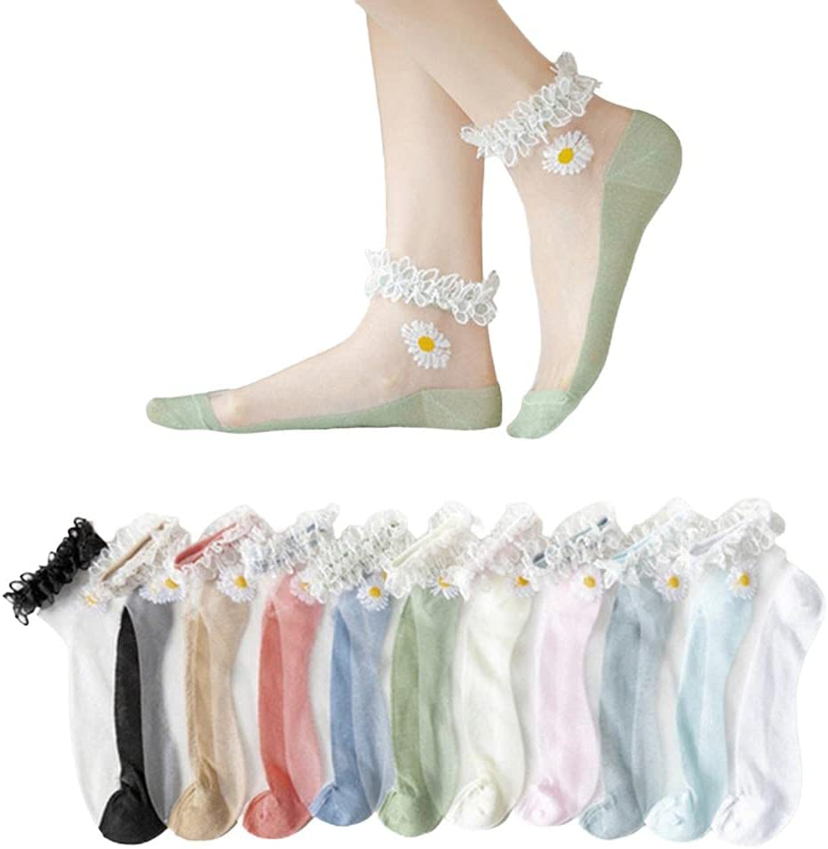 BATYY 10 Pairs Women Ankle Socks, Summer Daisy Lace Boat Socks,Breathable Stocking, Fashion Floral Mesh Patchwork Thin Soft Sock