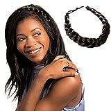 Madison Braids Womens Braided Headband Hair Braid Natural Looking Synthetic Hair Piece Extension - Lulu Two Strand - Dark Brown
