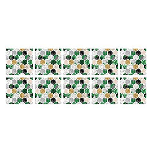 Vosarea 10 unids/Pack Hexagonal Bosque Estampado azulejo Pegatinas extraíbles Impermeables Antideslizantes Pegatinas de Pared para Sala de Estar decoración de la Cocina 15x15 cm