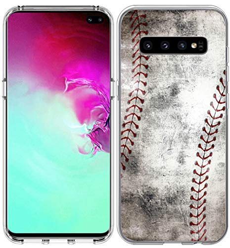 S10 Plus Case/IWONE Designer Rubber Durable Protective Skin Transparent Cover Shockproof Compatible for Samsung Galaxy S10 Plus Creative Vintage Baseball Art Printing