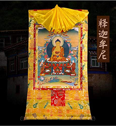 Sakyamuni Thangka Buddha Portrait Doble Capa Dorado Dorado Pintura Corazón Grande Largo