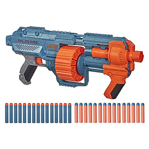 NERF Elite 2.0 Shockwave RD-15 Blaster, 30 Darts, 15-Dart Rotating Drum, Pump-Action, Built-in Customizing Capabilities