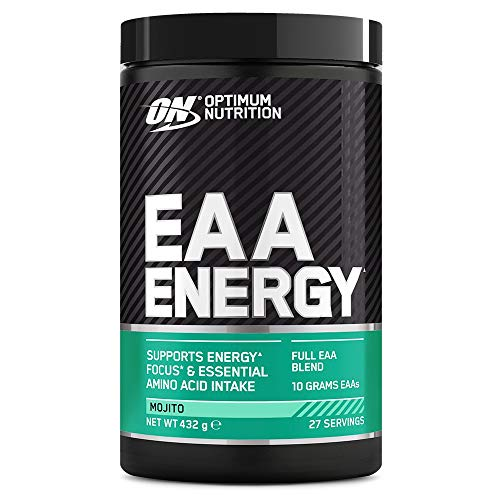 Optimum Nutrition ON EAA Energy, Full Essential Amino Acids Blend with Caffeine and No Sugar, EAA Powder for Energy and Focus, Mojito, 27 Servings, 432 g