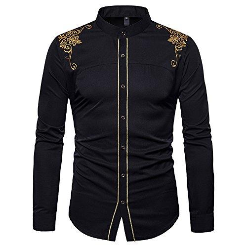 BaronHong Slim Fit Manga Larga Vestido Chino Bordado Vestido Camisa Casual (Negro, S)
