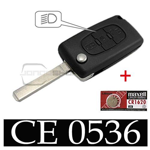 Jongo - Coque de Clé avec Lame Compatible avec Citroën C4 Picasso, C4 Grand Picasso | CE0536 | avec 1x Pile Maxell CR1620 | Boitier Clef Plip Voiture Télécommande 3 Boutons