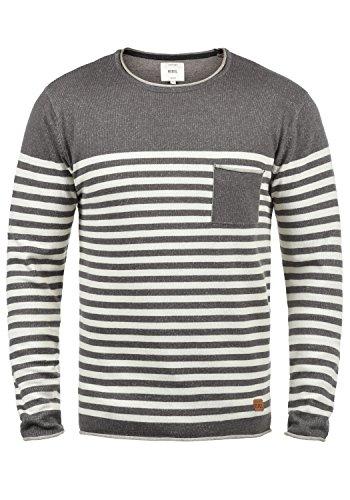 Redefined Rebel Mannix Jersey De Punto Suéter para Hombre con Cuello Redondo De 100% Algodón, tamaño:M, Color:Mid Grey