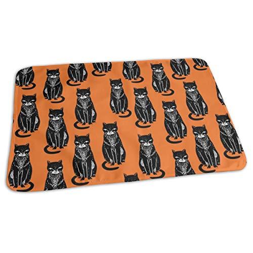Zwarte Kat Oranje Halloween Kat Stempel Linocut Leuke Kitty Bed Pad Wasbaar Waterdichte Urine Pads voor Baby Peuter Kinderen en Volwassenen 27.5 x19.7 inch