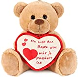 Brubaker Teddy Plüschbär mit Herz Rot Beige - Du bist das Beste was Mir je ... - 35 cm - Teddybär Plüschteddy Kuscheltier Schmusetier - Braun Hellbraun