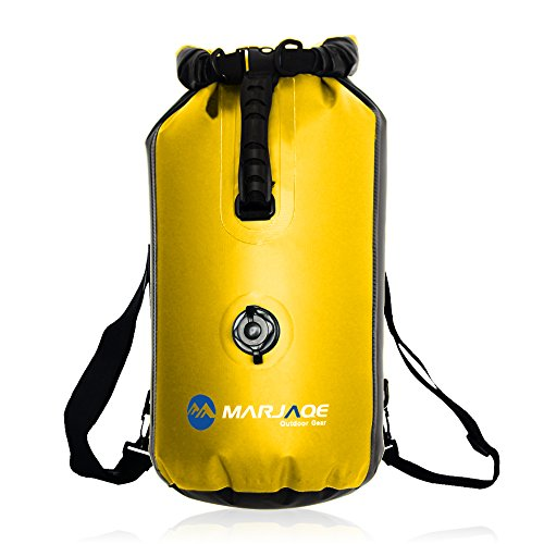 WildGrow Roll Top Closure Dry Bag Sack 30L with Ajustable Double Shoulder Straps, Hand Lifting Handle, Inflation Valve for Boating Kayaking Fishing Canoeing Rafting Swimming (yellow)