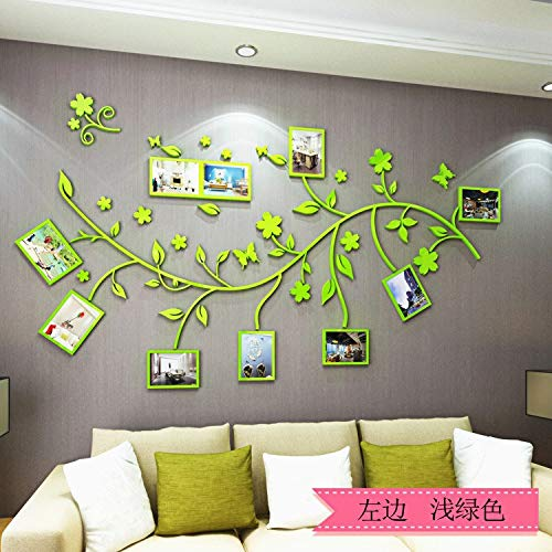 3D Stereo Acrylbild Baum Wohnzimmer Sofa Wand, hellgrün links, Oversize