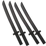 Katara 1771 - Juego de 4 Espadas de Espuma Gomaespuma Ninja 55cm de Largo, Negro
