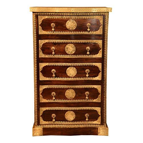 Casa Moro | Orientalische schmale Hochkommode Almas mit 5 Schubladen 75x50x127 cm (B/T/H) aus massiv Sheeshamholz mit Messing verziert | Vintage Kommode | MA74-220