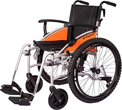 MobiQuip G-Explorer All Terrain Leichtgewichtiger, zusammenklappbarer, manueller selbstfahrender Aluminium-Rollstuhl mit Schnellentriegelungsrädern, silberner Rahmen, 45,7 cm Sitz