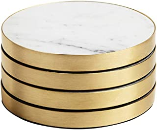 Geo Coasters (Brass & Carrara) Set of 4 by BEHR & CO