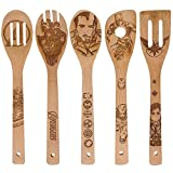 Hero Pattern,Natural Burned Wooden Spoons Cooking & Serving Utensils Set - Bamboo Spoon Slotted Kitchen Utensil,Fun Gift Idea, Warming Present(Set of 5)