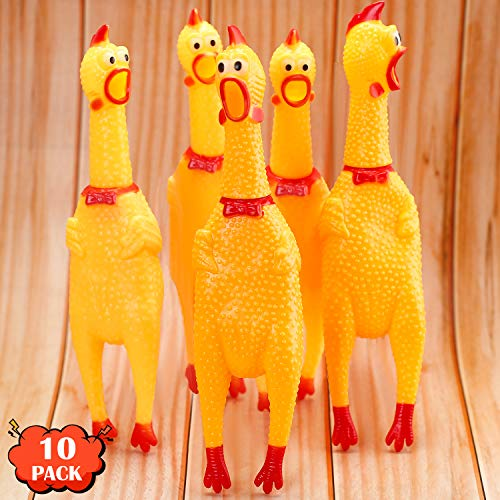 Rubber Chicken Screaming Chicken Squeaky Chicken Noise Shrilling Shrieking Squawking Chicken Noisemaker Novelty Gadget for Dogs Pets (11.8 Inch, 10 Packs)